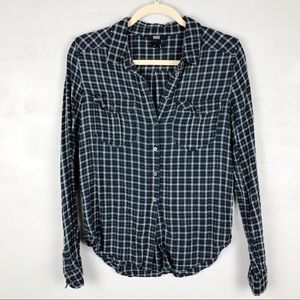 PAIGE Plaid Soft Button Down Flannel Semi-Fitted